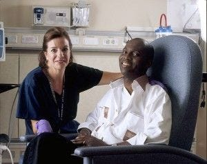 Nurse Poses With Cancer Patient.  By Rhoda Baer [Public domain], via Wikimedia Commons
