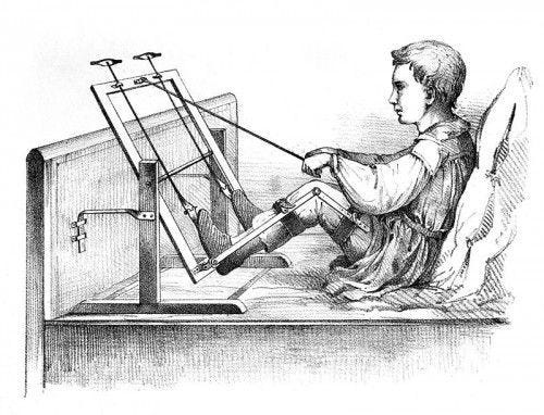 Apparatus for polio victims with leg paralysis.