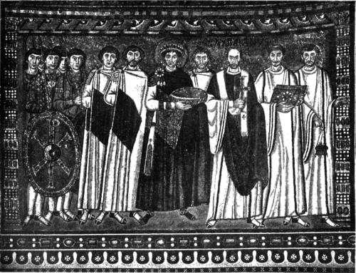 Emperor Justinian, center, surrounded by his advisors.