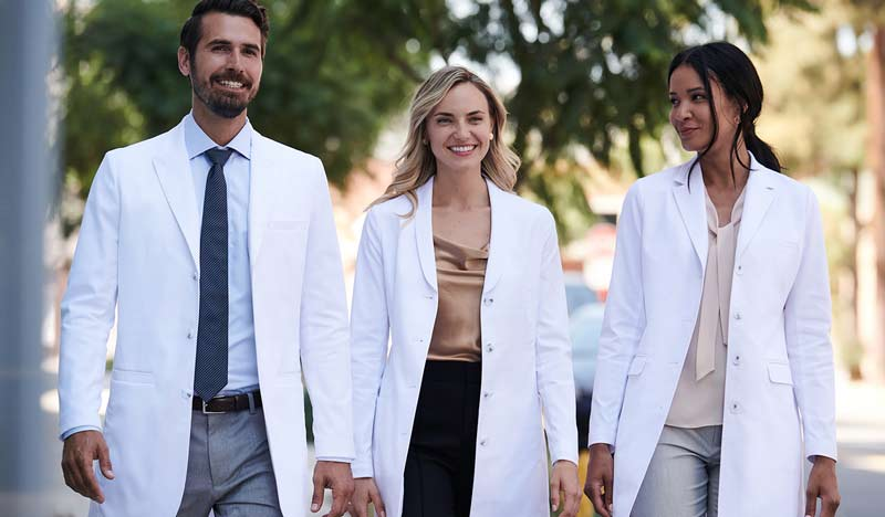 man and woman wearing lab coats