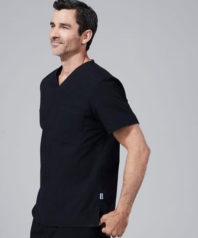 Modern Fit Mens Scrub Top-Black