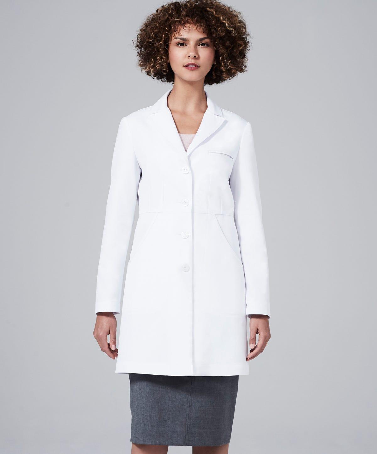 White apron for doctors online - M3 Miranda B Slim Fit Lab Coat
