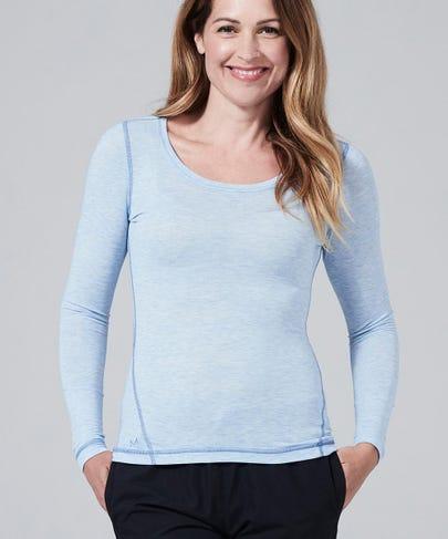 Women's Core One Long Sleeve Tee-Heather Blue