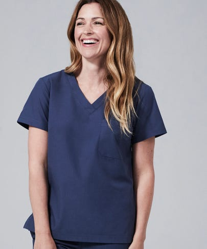 Women's Blue Scrub Top