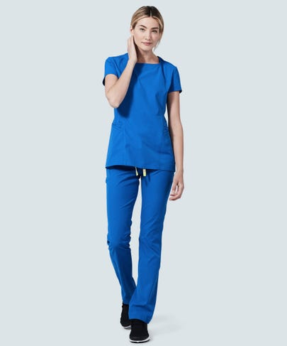 royal blue nursing scrub pants pockets