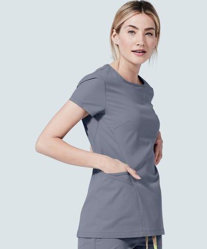 womens meridian grey scrub top