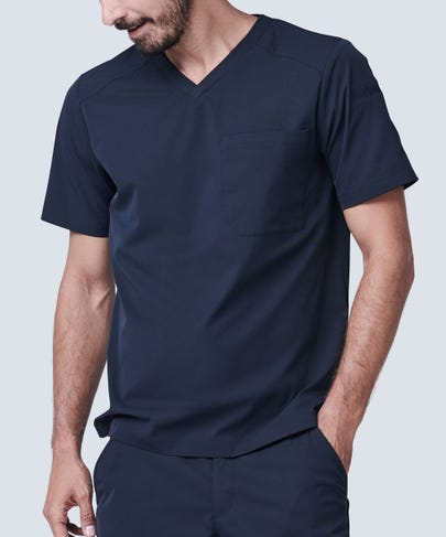 Men's Black Scrub Top V Neck