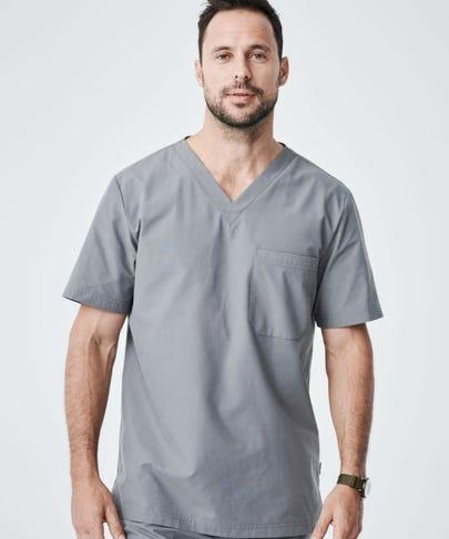 Modern Fit Mens Scrub Top-Grey-S