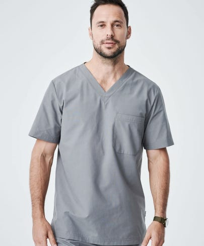 Men's Grey Scrub Top