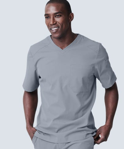 Men's Grey V-Neck Scrub Top