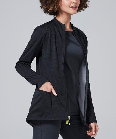 Ionic Women's Scrub Jacket-Black