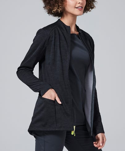 Ionic Women's Scrub Jacket-Black