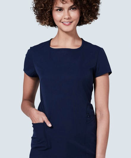 Meridian rounded neck navy blue scrub top