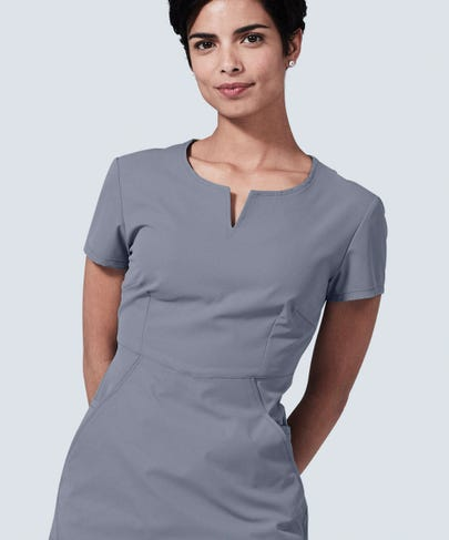 Women's grey horizon scrub top