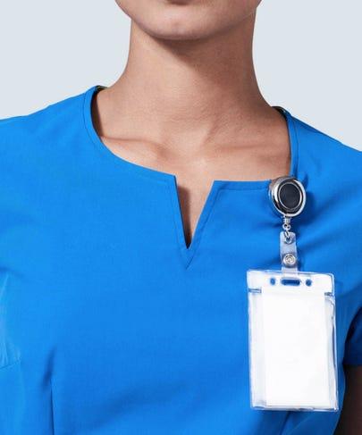 royal blue women's scrub top