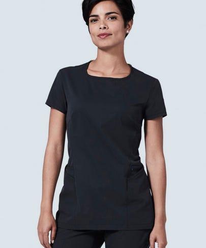 Meridian black scrub top for women