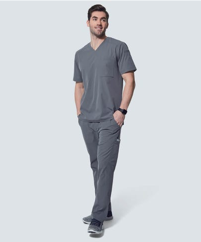 Men's Grey VNeck Scrub Top