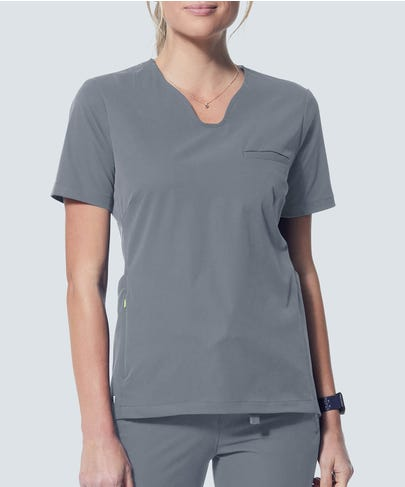 Sola Scrub Top-Grey-XXS