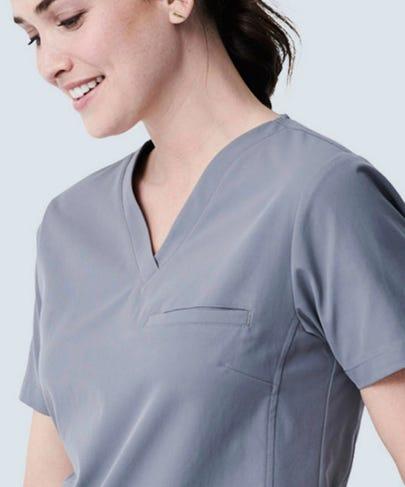 Vista grey vneck scrub top for women