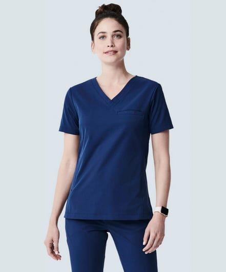 Vista navy blue womens v-neck scrub top
