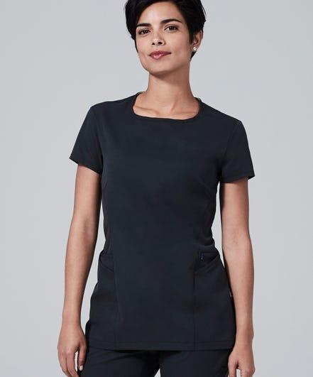 Meridian Women's Scrub Top-Black-XS