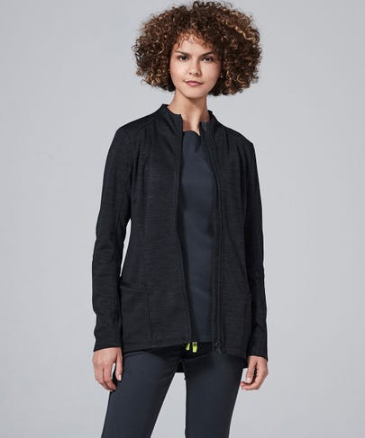 Ionic Women's Scrub Jacket-Black/Graphite-XS