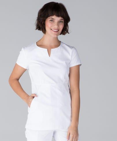 Horizon Women's Scrub Top-White-XS