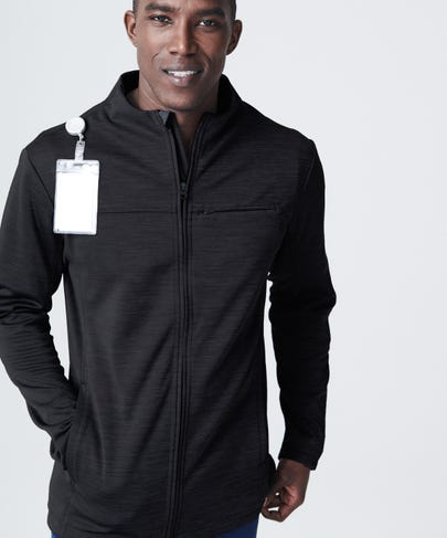 Ionic Men's Scrub Jacket-Black/Graphite-S
