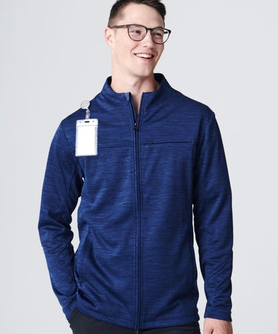 Ionic Men's Scrub Jacket-Navy/Solar Blue-M