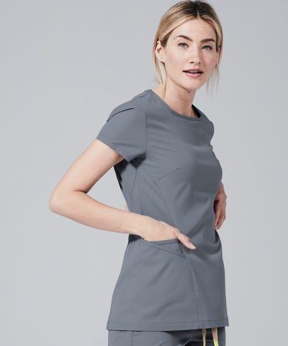 Meridian Women's Scrub Top-Grey-XL