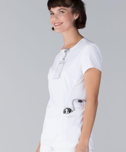 Meridian Women's Scrub Top-White-L