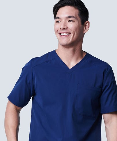 Men's Navy Blue Scrub Top