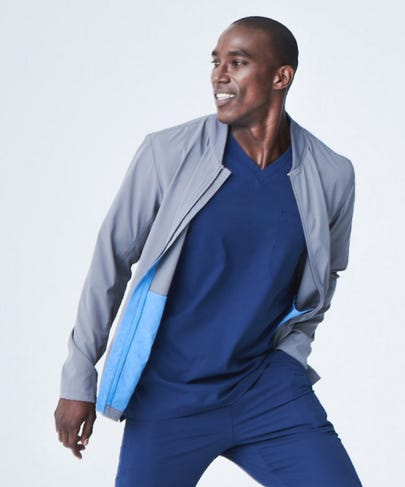 Kinetic Men's Scrub Jacket-Grey-XL