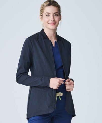 Kinetic Women's Scrub Jacket-Black