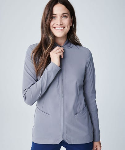 Grey kinetic Scrub Jacket for women