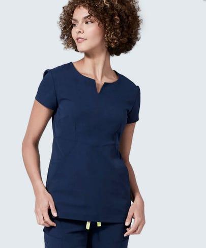 Navy blue women's scrub top