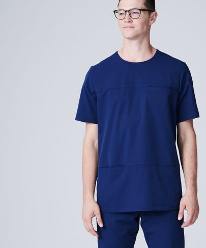 navy blue crew neck scrub top