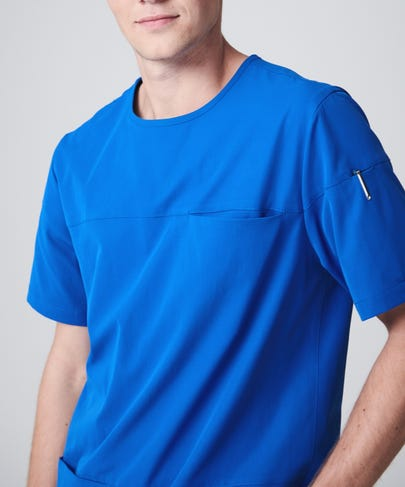 royal blue men's scrub top front