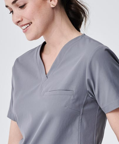 Vista Women's Scrub Top-Grey-XXL