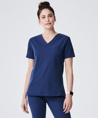 Vista Women's Scrub Top-Navy-XXS