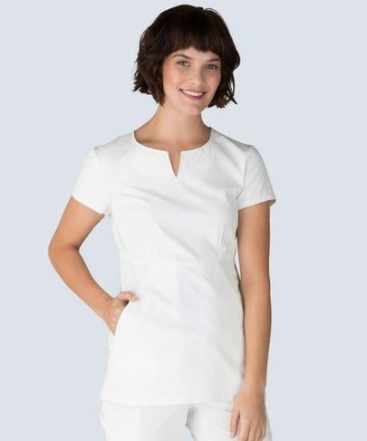 women's horizon white scrub top
