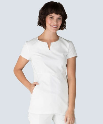 women's horizon white scrub top