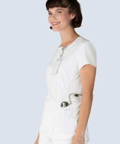 womens meridian white scrub top