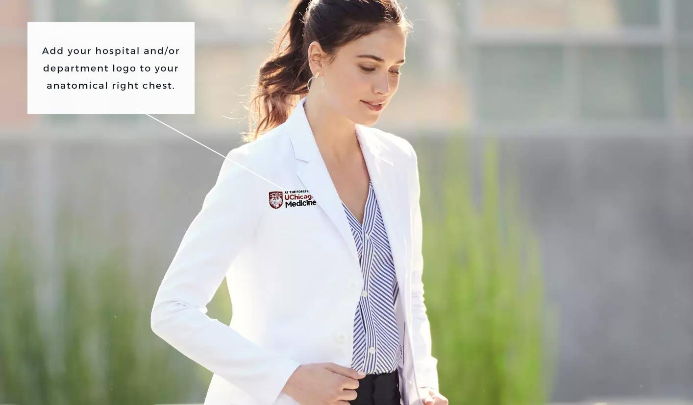 lab coat with uchicago hospital logo