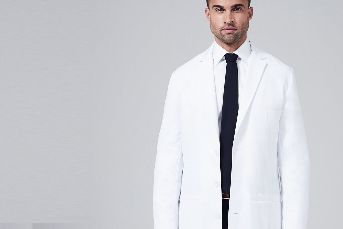 H.W. Cushing men's lab coat side