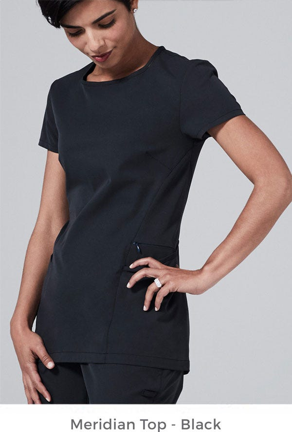 Meridian Scrub Top - Black