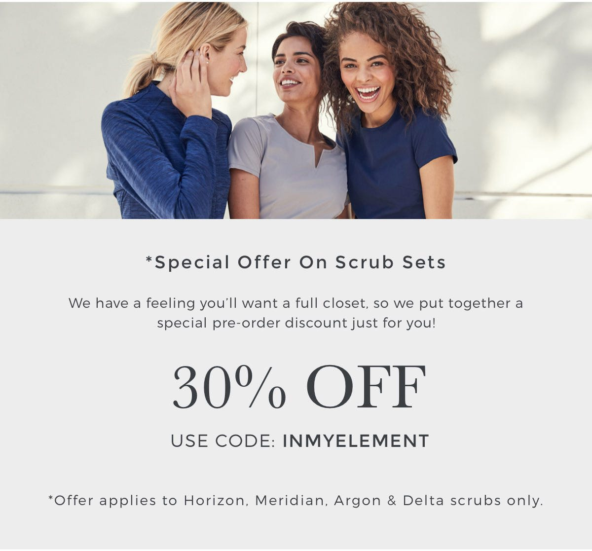 30% Off Element Scrubs Only With Special Coupon Code INMYELEMENT