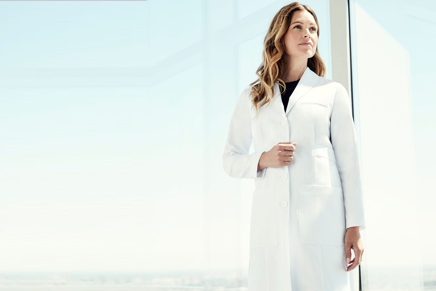 c4ff8a999a9 Emma W. M3 - Women's Shawl Collar White Lab Coat | Medelita