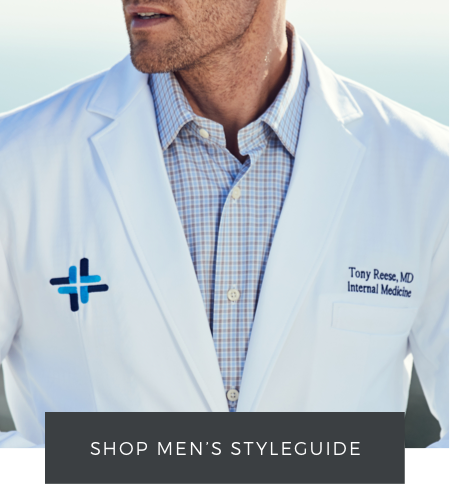 shop men's lab coat styleguide