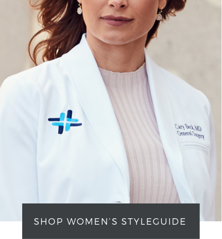 shop women's lab coat styleguide